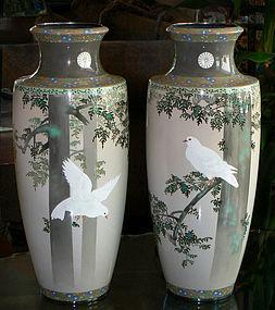 Japanese Imperial Cloisonne Vases - Namikawa Sosuke
