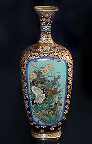 Japanese Cloisonne Enamel Vase with Four Panels