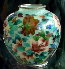Large Japanese Cloisonne Plique A Jour Vase