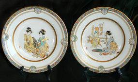 Kinkozan Japanese Satsuma Plates  Painted by Ikko Ga