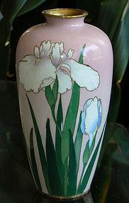 Japanese Cloisonne Enamel Vase with Iris - Gonda
