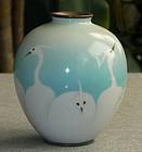 Japanese Cloisonne Enamel Vase Wireless Egrets