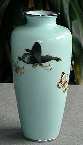 Japanese Cloisonne Enamel Vase w/ Butterflies  - Ando