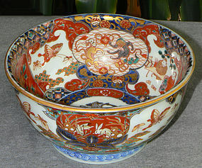 Beautiful Japanese Imari Porcelain Bowl - Rabbits