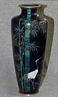 Fine Japanese Cloisonne Enamel Vase with Crane and Bamboo