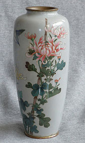 Antique Japanese Cloisonne Enamel Vase with Bird