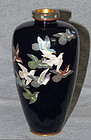 Japanese Cloisonne Enamel Vase with 13 Rock Doves