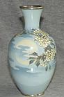 Namikawa Sosuke Cloisonne Enamel Moon & Clouds Vase