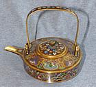 Pristene Japanese Cloisonne Enamel Gilded Wire Teapot From  Kyoto