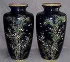 """Japanese Cloisonne Enamel Vases 18"""" - Ando or Hayashi Gold Wire Birds"""