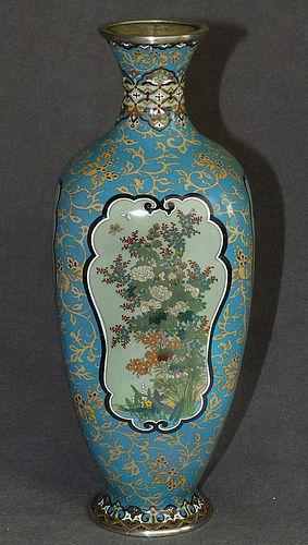 Beautiful Japanese Cloisonne Enamel Vase with Four Panels