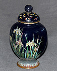 Japanese Cloisonne 4 Sided Enamel Jar with Butterflies and Iris