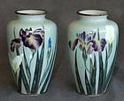 Excellent Pair Japanese Cloisonne Enamel Wireless Vases - Kumeno
