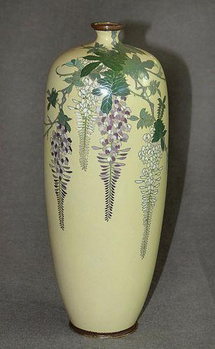 Fine Japanese Cloisonne Enamel Vase with Wisteria