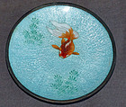 Fine Japanese Cloisonne Enamel Dish with a Fish