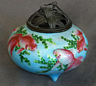 Japanese Basse-taille Cloisonne Enamel Koro with Sculpted Relief Fish