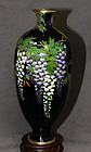 Great Japanese Cloisonne Enamel Vase with Wisteria