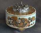 Beautiful Japanese Meiji Era Satsuma Koro with Chrysanthemum Lid