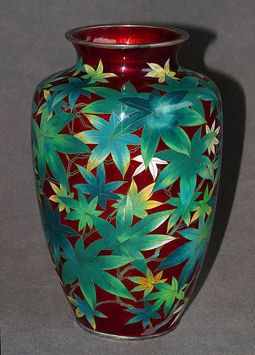 Early Japanese Cloisonne Enamel Pigeon Blood Vase