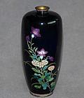 Fine Japanese Cloisonne Enamel Vase w Translucent Purple Flowerheads