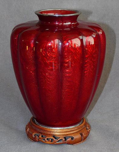 Excellent Japanese Cloisonne Enamel Vase with Wisteria