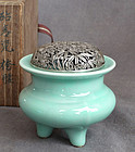 Japanese Celadon Tripod Censer or Incense Burner w Silver Lid