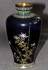 Ultra Fine Japanese Cloisonne Enamel Vase - Hayashi Gold Wire