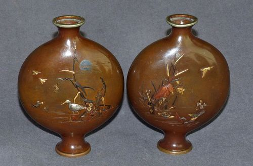 Pair Japanese Mixed Metal Moon Flasks -Miyabe Atsuyoshi