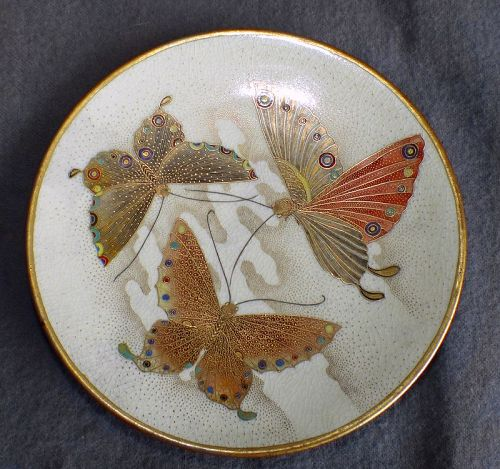 Japanese Satsuma Plate with Butterflies - signed Shizan