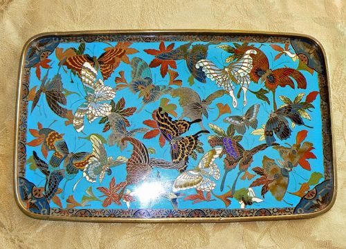 Japanese Cloisonne Enamel Tray Butterflies, Moths, & Leaves
