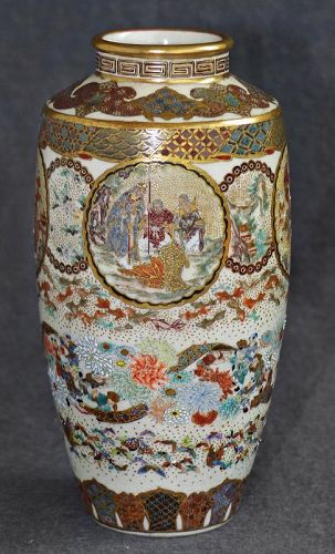 Beautiful Meiji Era Japanese Satsuma Vase -Signed Meizan