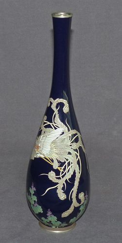 Rare and Fine Japanese Cloisonne Enamel Vase with Phoenix