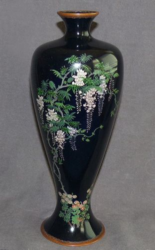 Fine Large Japanese Cloisonne Enamel Vase with Flowering Wisteria