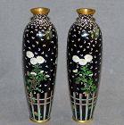 Excellent Rare Pair Japanese Cloisonne Enamel Vases - Probably Kumeno