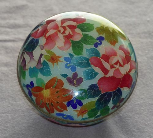 Very Rare Japanese Cloisonne Enamel  Lidded Bowl - Plique A Jour