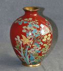 Attractive Japanese Cloisonne Enamel Vase Covered with Flowers