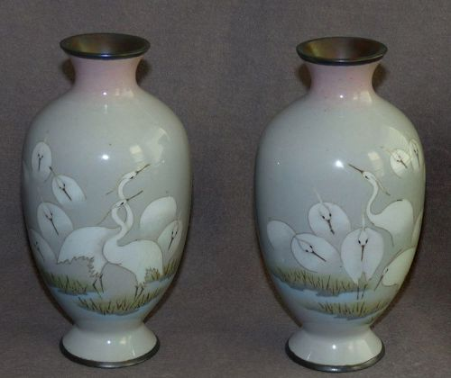 Beautiful Pair Japanese Cloisonne Enamel Vases - Early Namikawa Sosuke