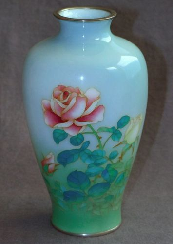Japanese Cloisonne Enamel vase from Showa Era - Rare Two Tone Design