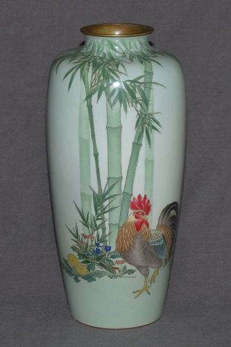 Japanese Wire & Wireless Cloisonne Enamel Vase w Bamboo & Rooster