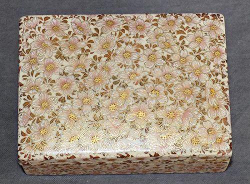 Japanese Satsuma Box with Raised Enameled flowers & Fine Gold Work