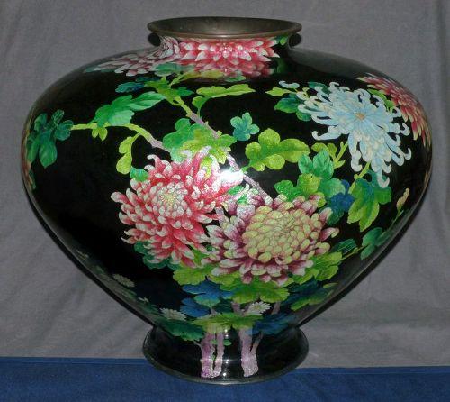 Very Large and Colorful Japanese Cloisonne Enamel Vase
