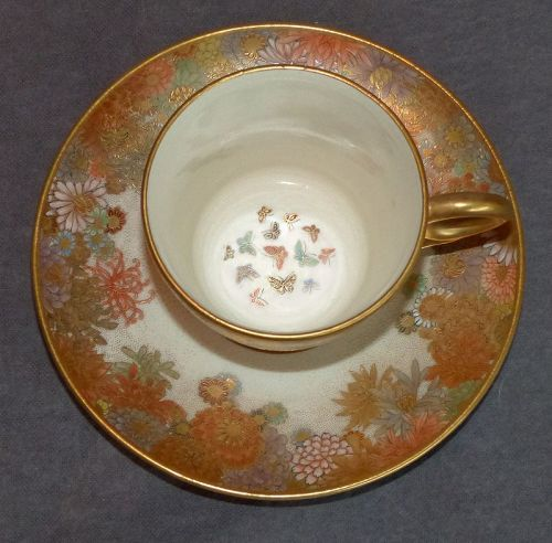 Excellent Japanese Satsuma Cup and Saucer signed Shizan