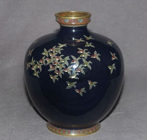 Spectacular Japanese Cloisonne Enamel Vase with a Flock of Sparrows