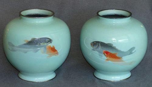 Outstanding Large Japanese Cloisonne Enamel Vases with Moriage Koi