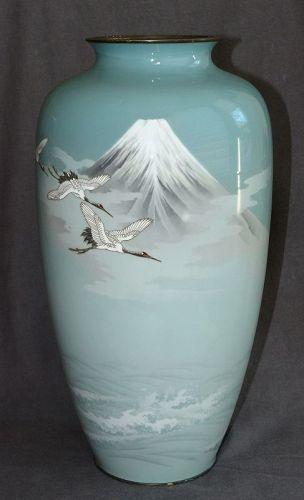 Fabalous Large Japanese Cloisonne Enamel Vase signed Gonda