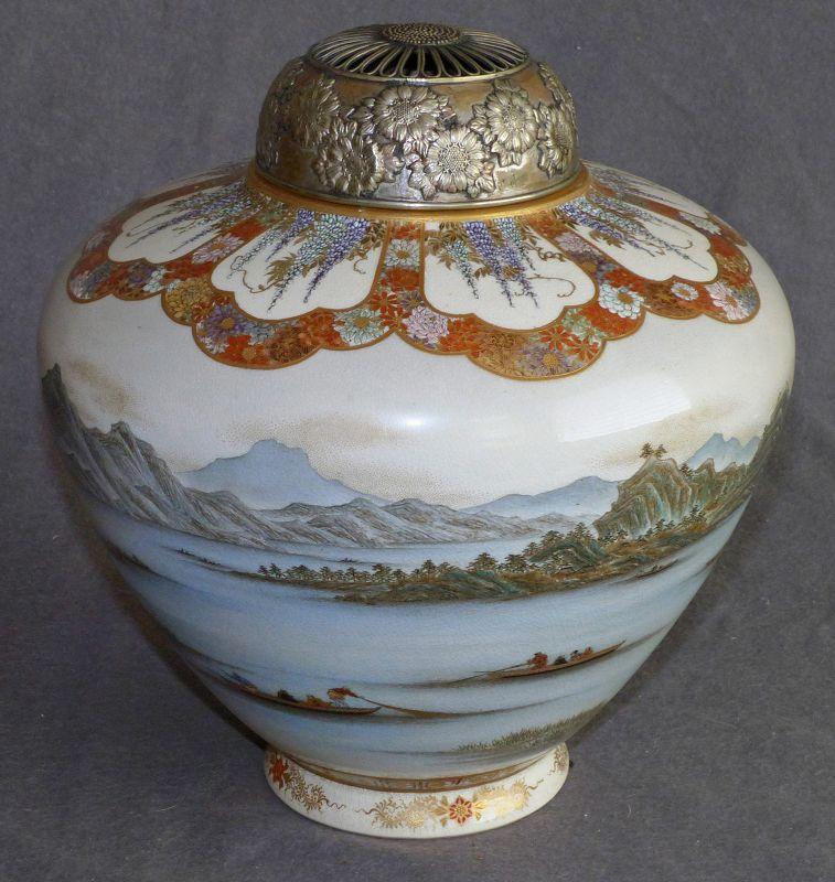 Large Japanese Satsuma Vase or Jar by Yabu Meizan