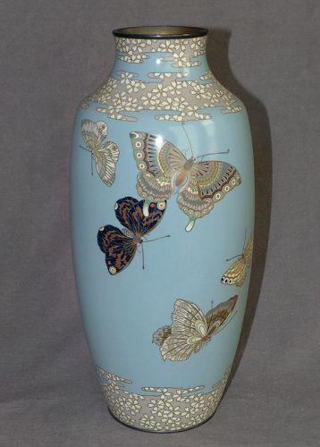 Outstanding Large Japanese Cloisonne Enamel Vase - Signed Ota