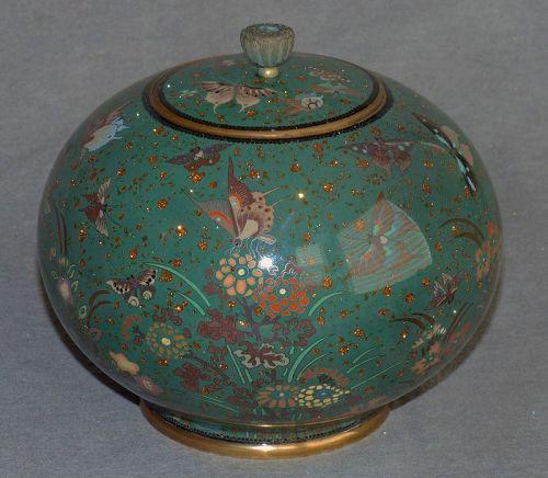 Cloisonne Enamel Jar w Butterflies, Flowers and Plants - likely Honda
