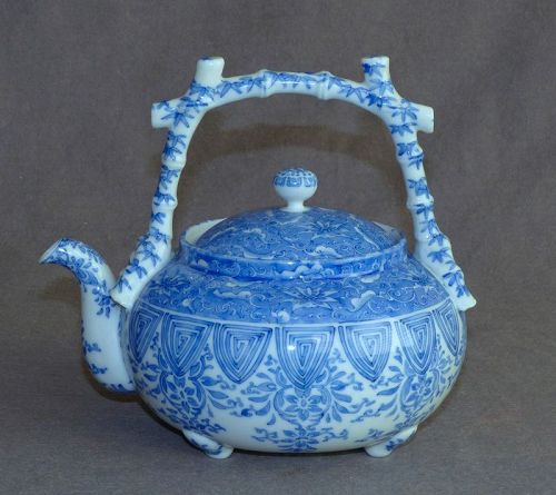 Sapphire & White Japanese Porcelain Teapot - Hand Painted