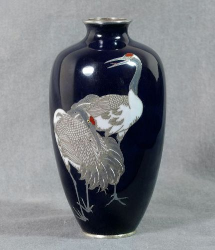 A Fine Japanese Cloisonne vase with Cranes - unsigned